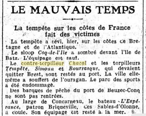 Le contre-torpilleur Chacal 19261112