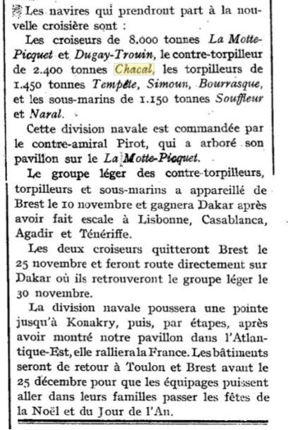Le contre-torpilleur Chacal 19261113