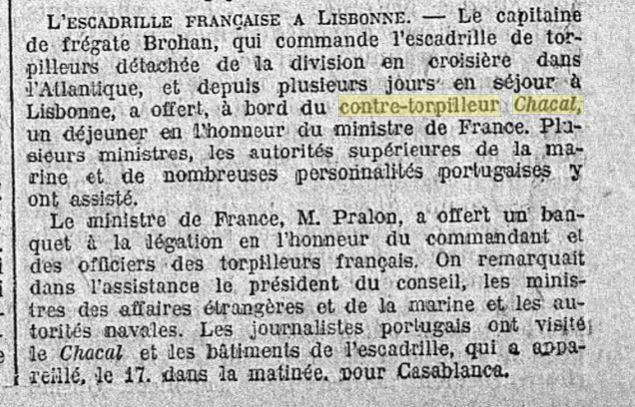 Le contre-torpilleur Chacal 19261114