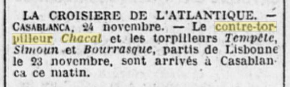 Le contre-torpilleur Chacal 19261115