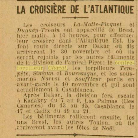 Le contre-torpilleur Chacal 19261116