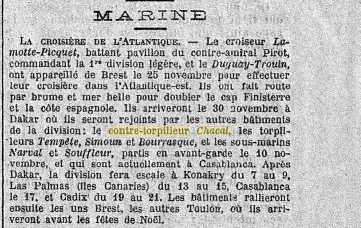Le contre-torpilleur Chacal 19261117
