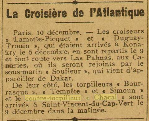 Le contre-torpilleur Chacal 19261210
