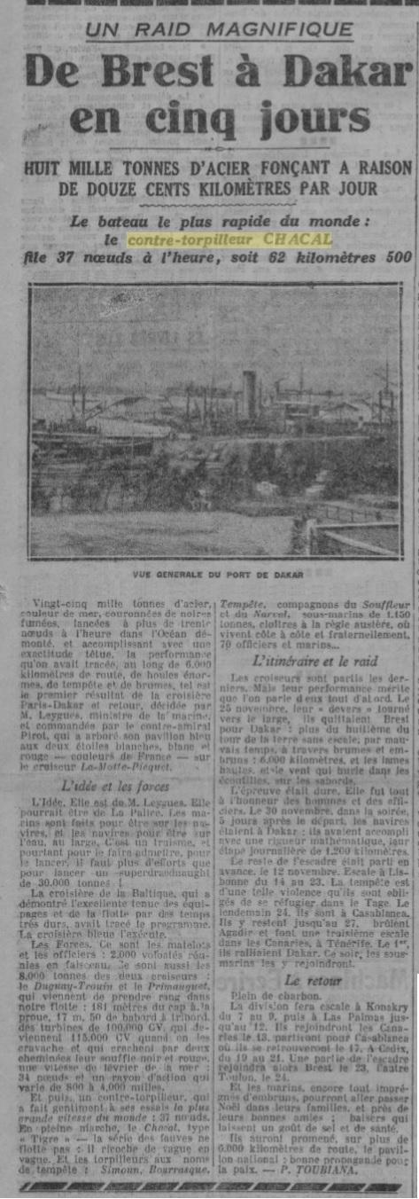 Le contre-torpilleur Chacal 19261212