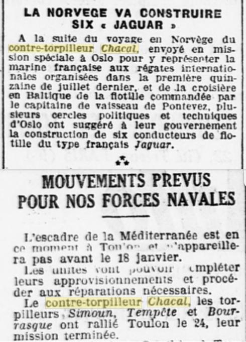 Le contre-torpilleur Chacal 19261213