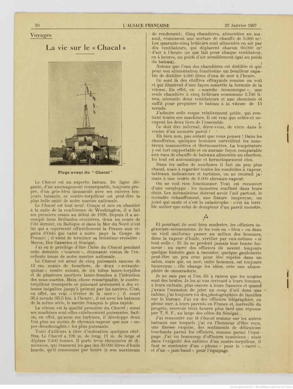Le contre-torpilleur Chacal 19270112