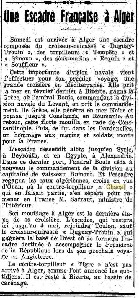 Le contre-torpilleur Chacal 19270512