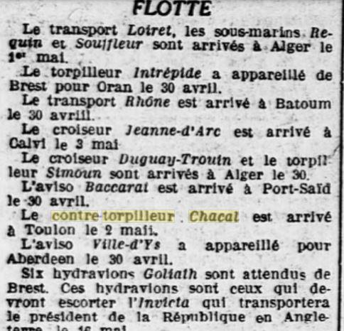 Le contre-torpilleur Chacal 19270513