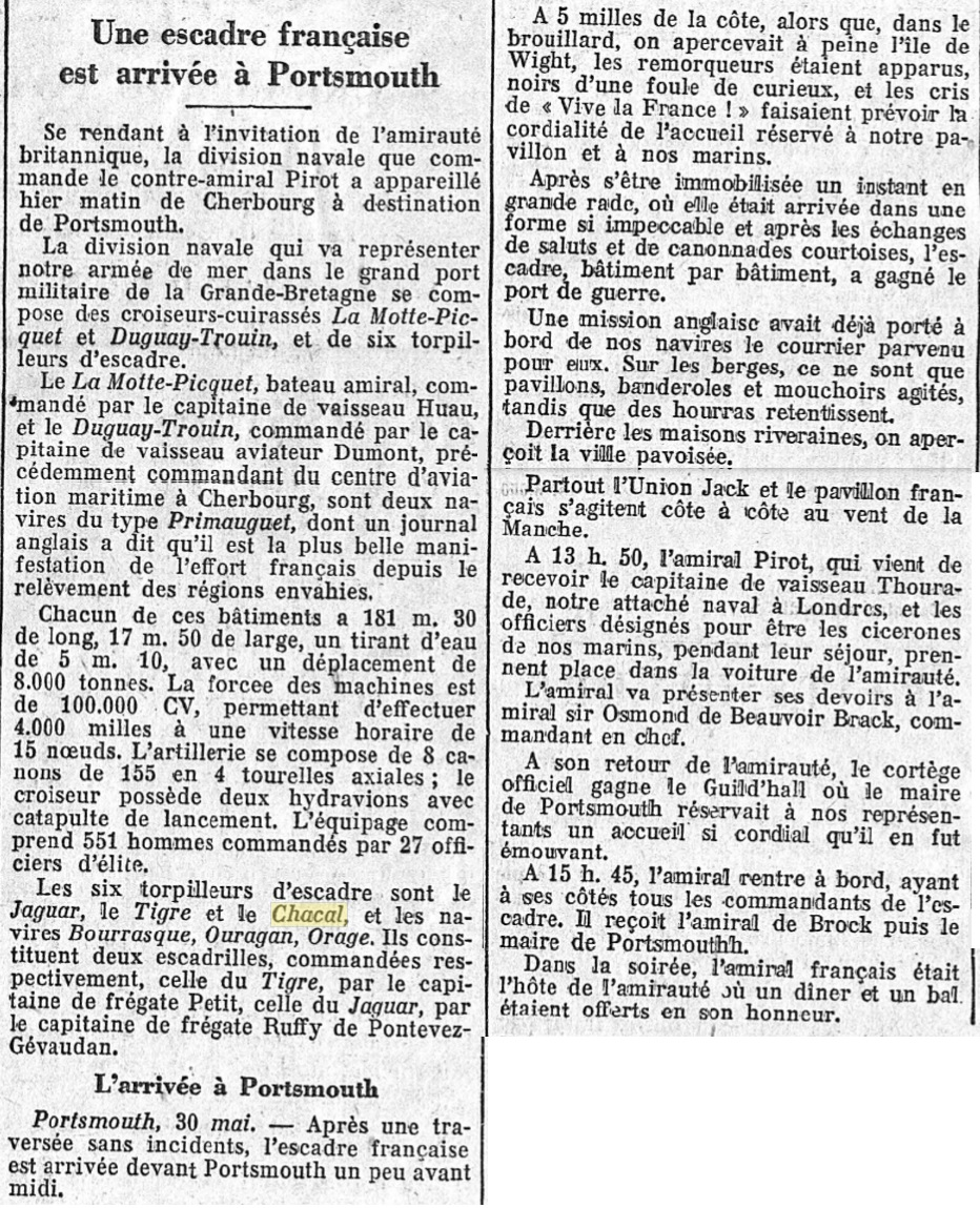 Le contre-torpilleur Chacal 19270516