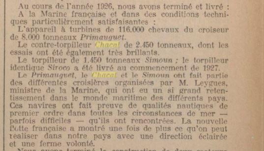 Le contre-torpilleur Chacal 19270711