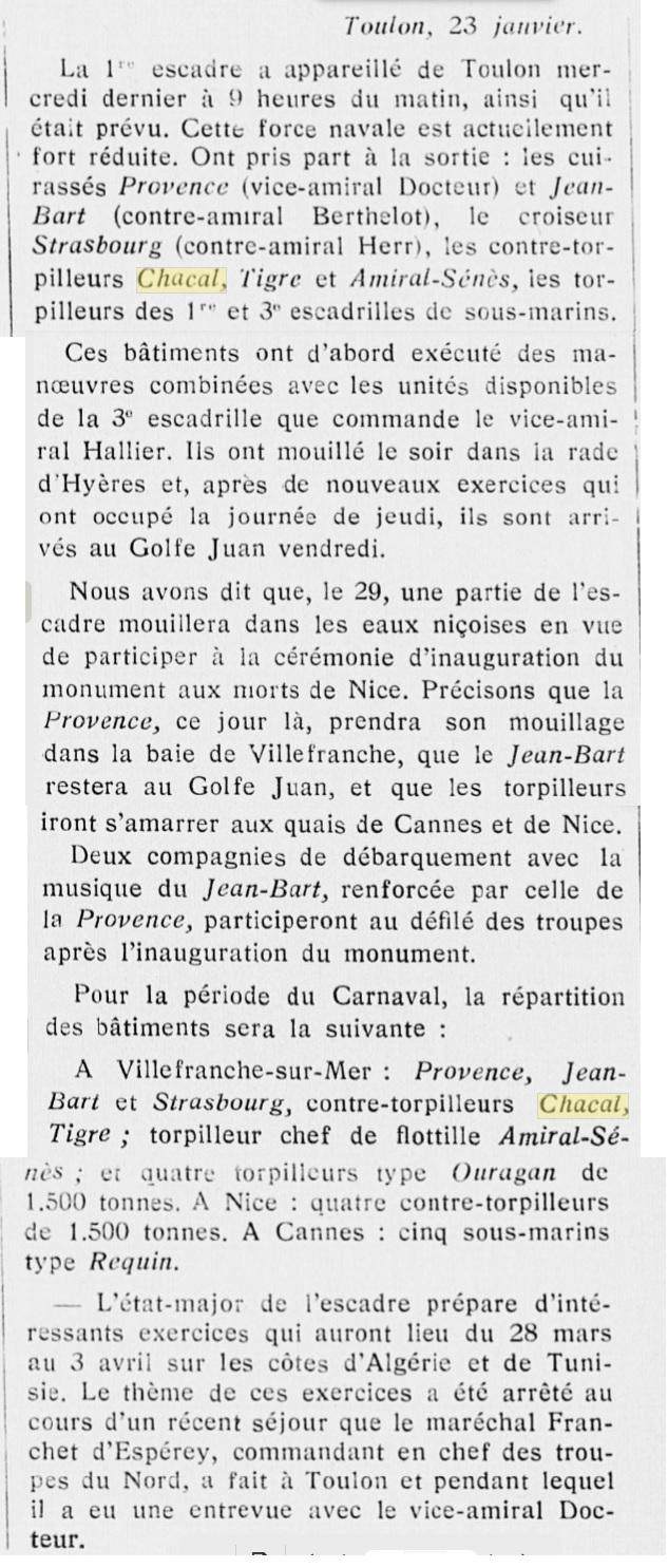 Le contre-torpilleur Chacal 19280110
