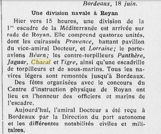 Le contre-torpilleur Chacal 19280610
