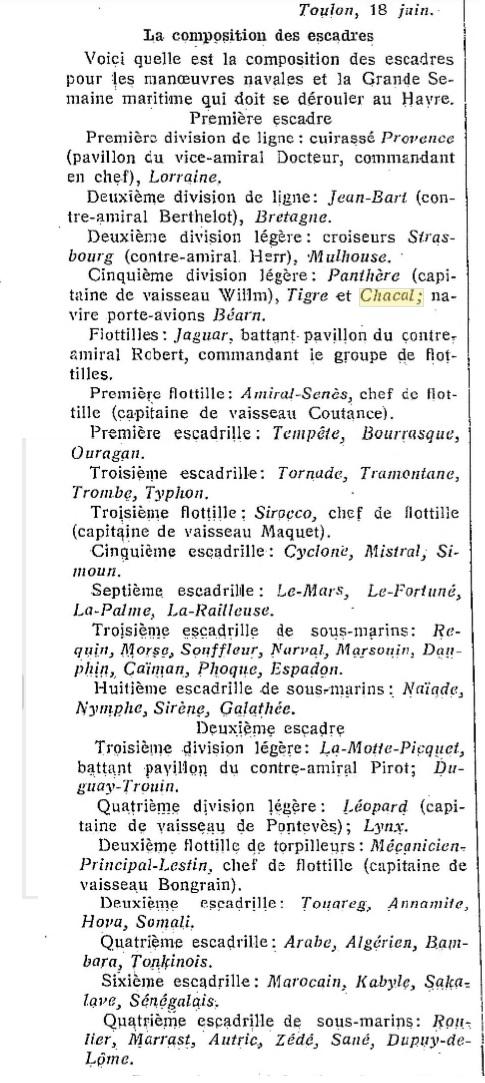 Le contre-torpilleur Chacal 19280611