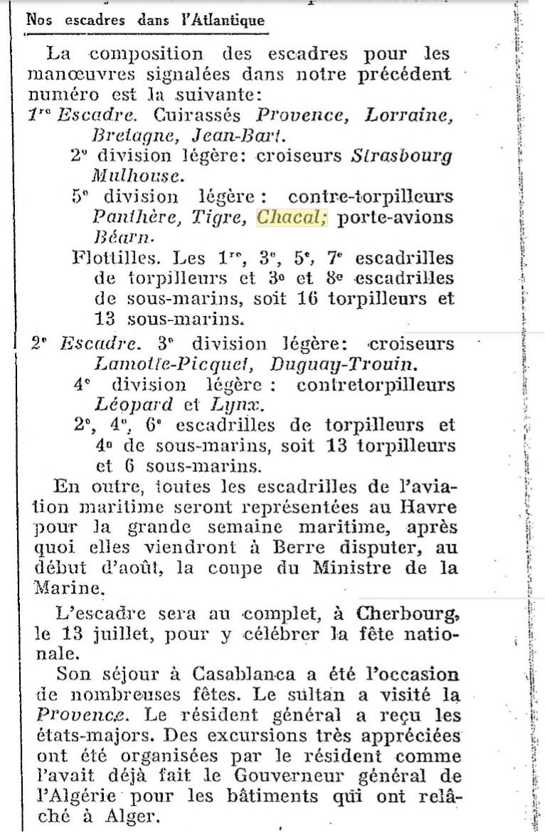 Le contre-torpilleur Chacal 19280711