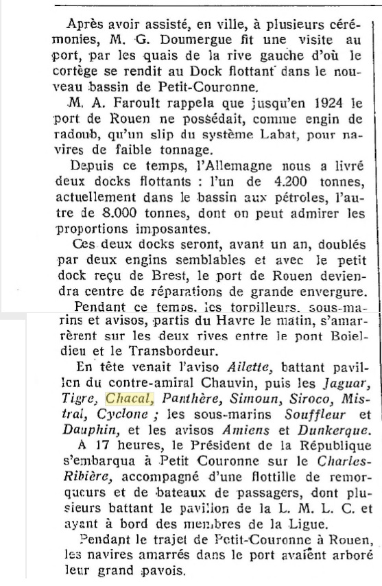 Le contre-torpilleur Chacal 19280714
