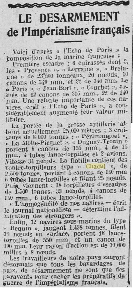 Le contre-torpilleur Chacal 19291110