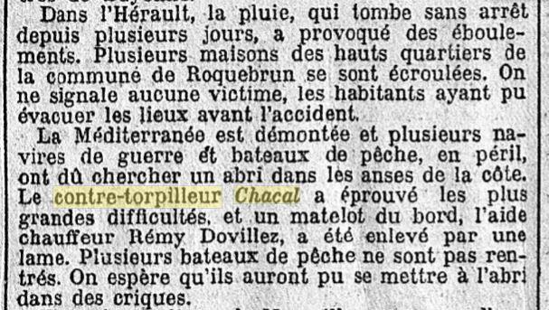 Le contre-torpilleur Chacal 19301017