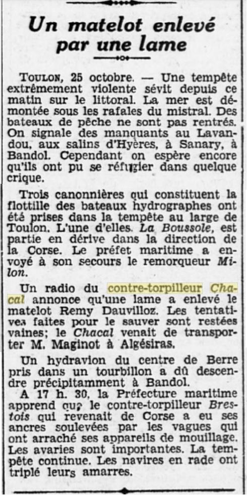 Le contre-torpilleur Chacal 19301018