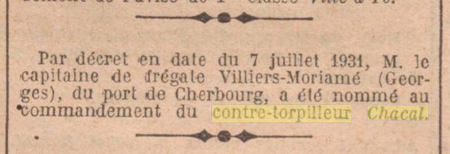 Le contre-torpilleur Chacal 19310710