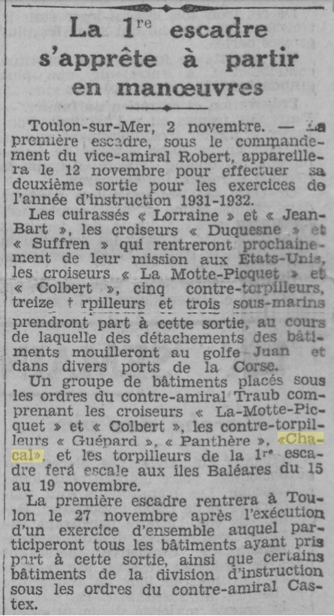 Le contre-torpilleur Chacal 19311111