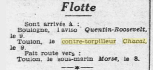 Le contre-torpilleur Chacal 19320211