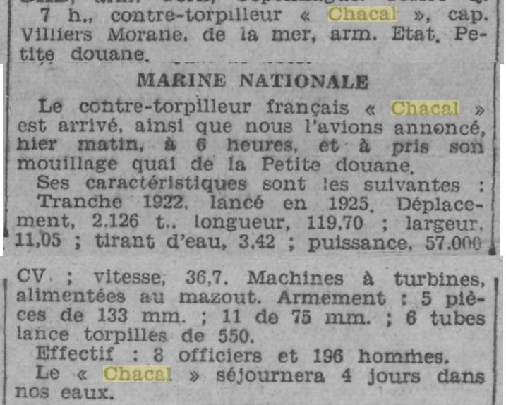 Le contre-torpilleur Chacal 19320212