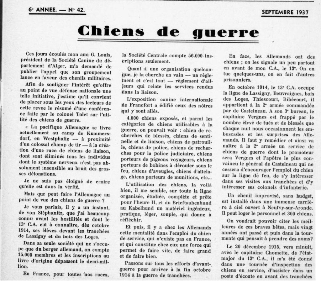 Les chiens dans l'armée française - Page 2 19370910