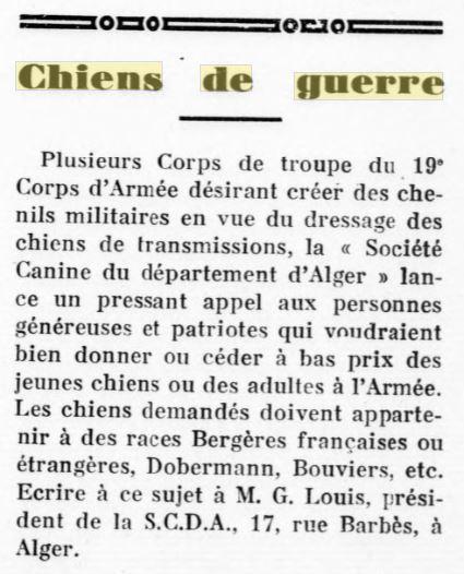 Les chiens dans l'armée française - Page 2 19370911