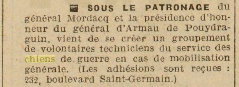 Les chiens dans l'armée française - Page 2 19380514