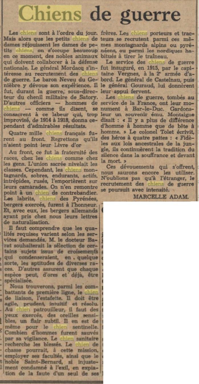 Les chiens dans l'armée française - Page 2 19380515