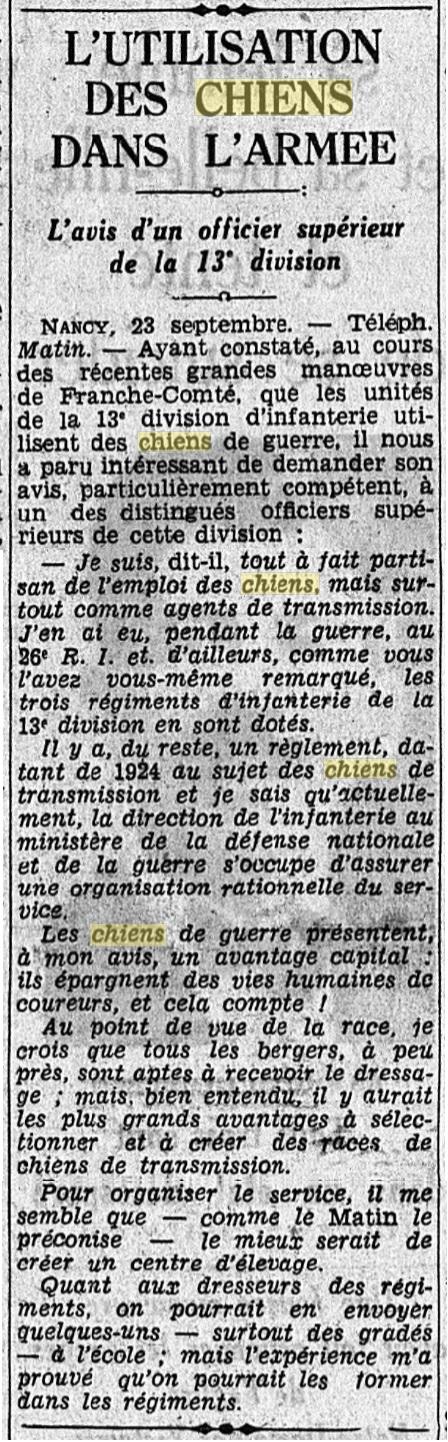 Les chiens dans l'armée française - Page 2 19380918