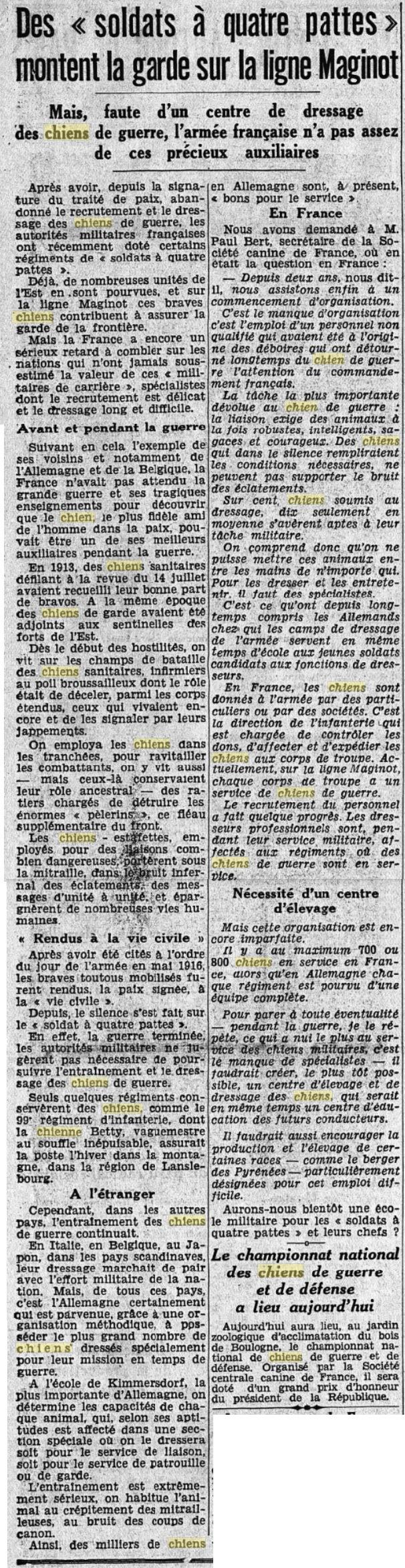 Les chiens dans l'armée française - Page 2 19380919