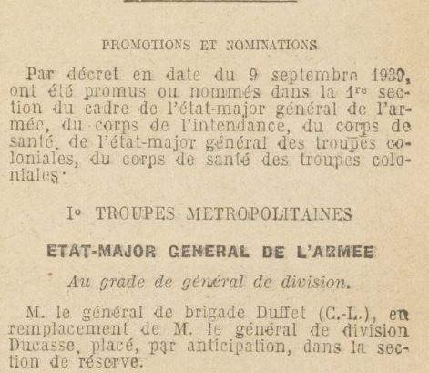 Général Duffet 19390910