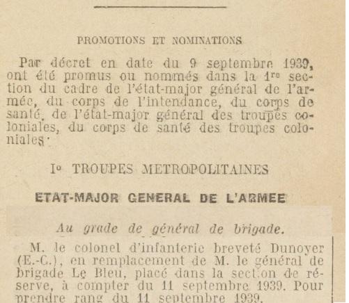 Général Dunoyer, Eugène Charles 19390912