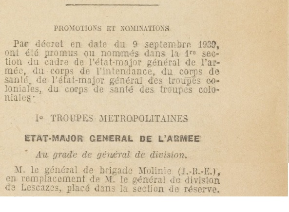 Général Molinié, 25e DIM : carte mortuaire 19390914