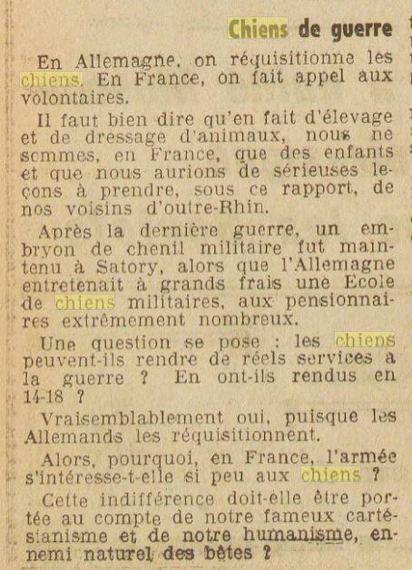 Les chiens dans l'armée française - Page 2 19391018