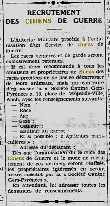 Les chiens dans l'armée française - Page 2 19391113