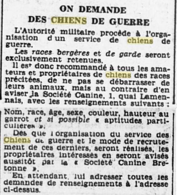 Les chiens dans l'armée française - Page 2 19391114