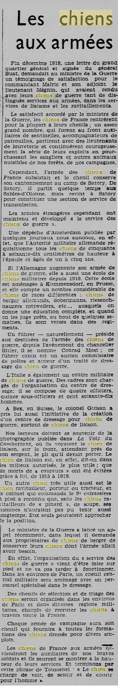 Les chiens dans l'armée française - Page 2 19391115