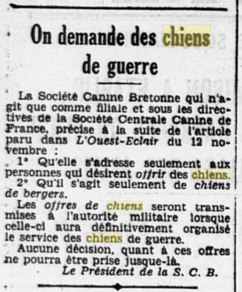 Les chiens dans l'armée française - Page 2 19391117
