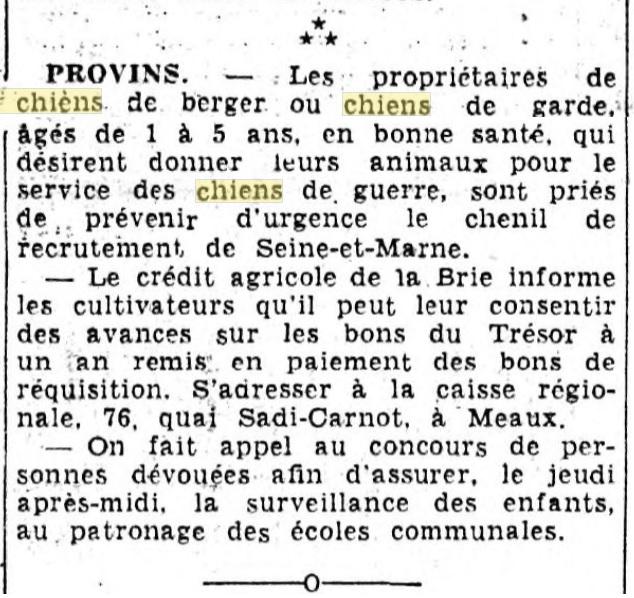 Les chiens dans l'armée française - Page 2 19391214