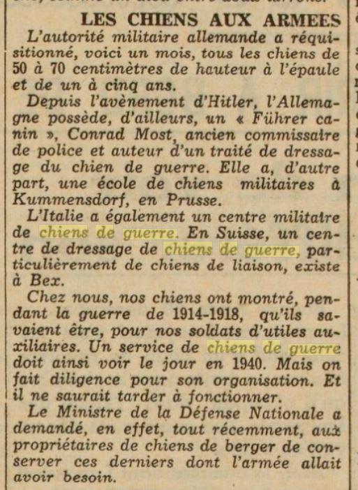 Les chiens dans l'armée française - Page 2 19391216