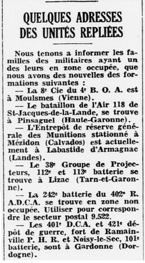 Liste des centres de repli des unités françaises 19400712