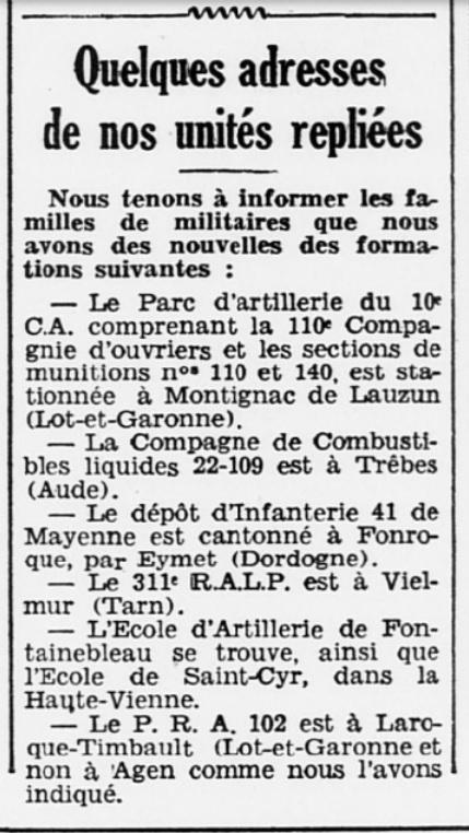 Liste des centres de repli des unités françaises 19400713
