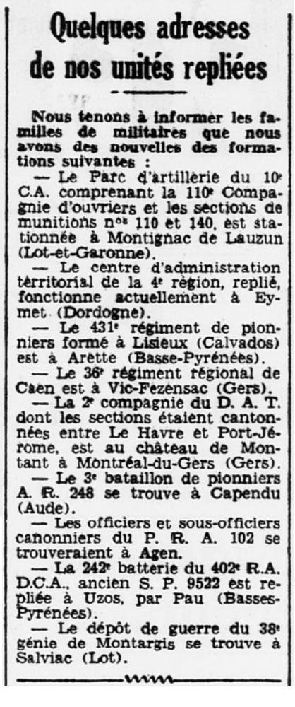Liste des centres de repli des unités françaises 19400714