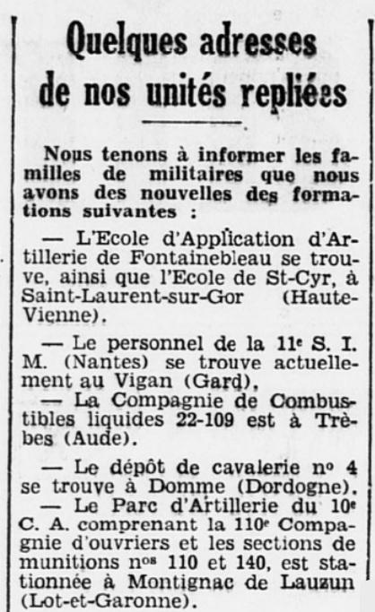 Liste des centres de repli des unités françaises 19400715