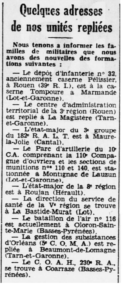 Liste des centres de repli des unités françaises 19400716