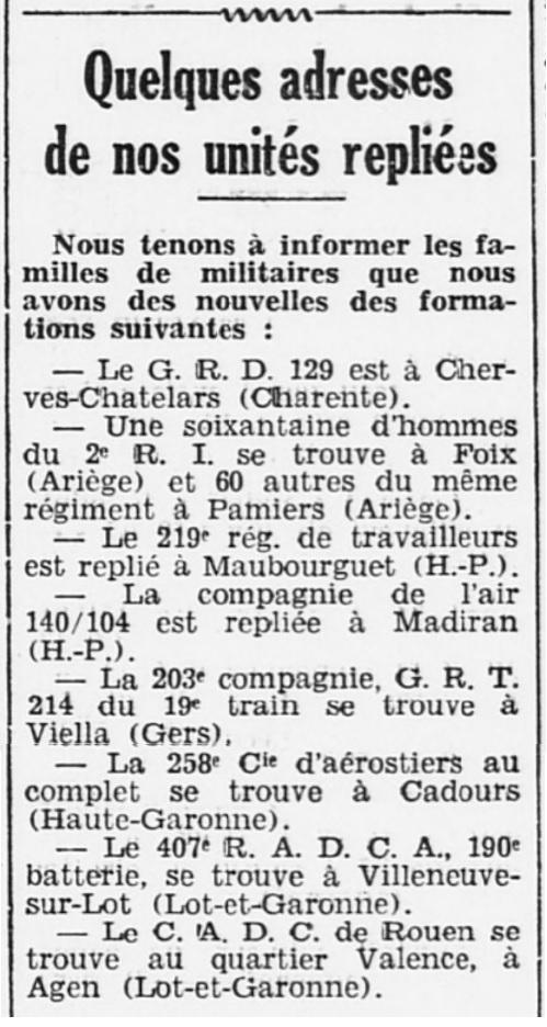 Liste des centres de repli des unités françaises 19400717