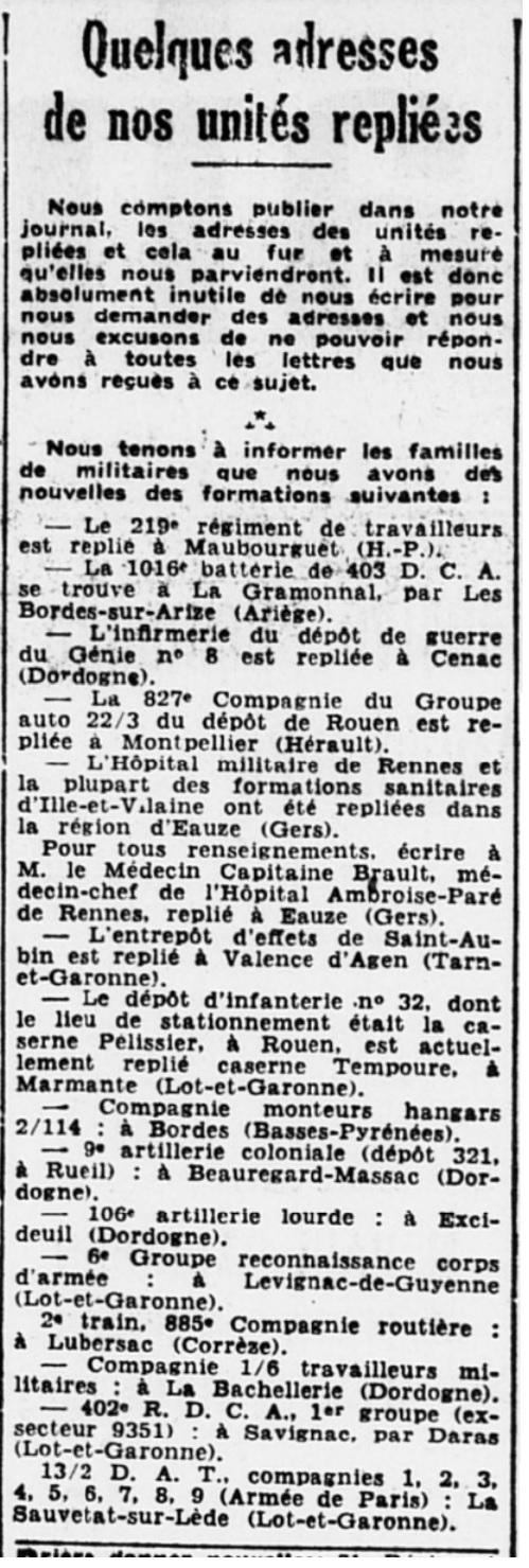 Liste des centres de repli des unités françaises 19400718
