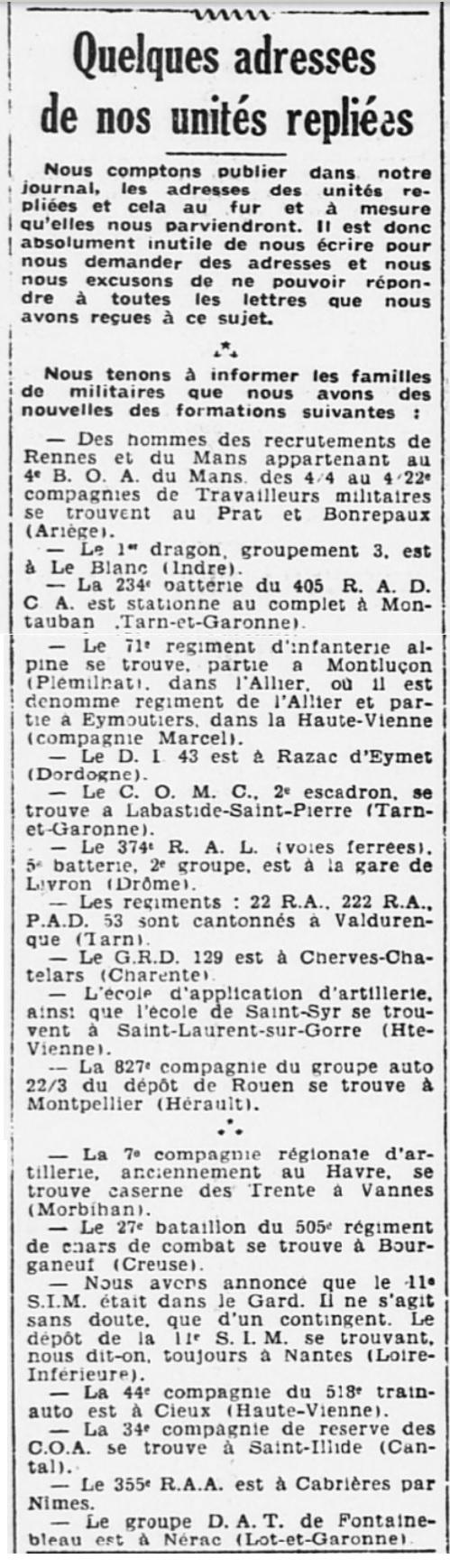 Liste des centres de repli des unités françaises 19400719